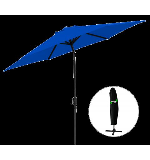 Parasol ogrodowy na słupku centralnym - 6 paneli - niebieski